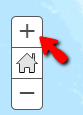 Points out the plus sign above a Home button for original view of the map