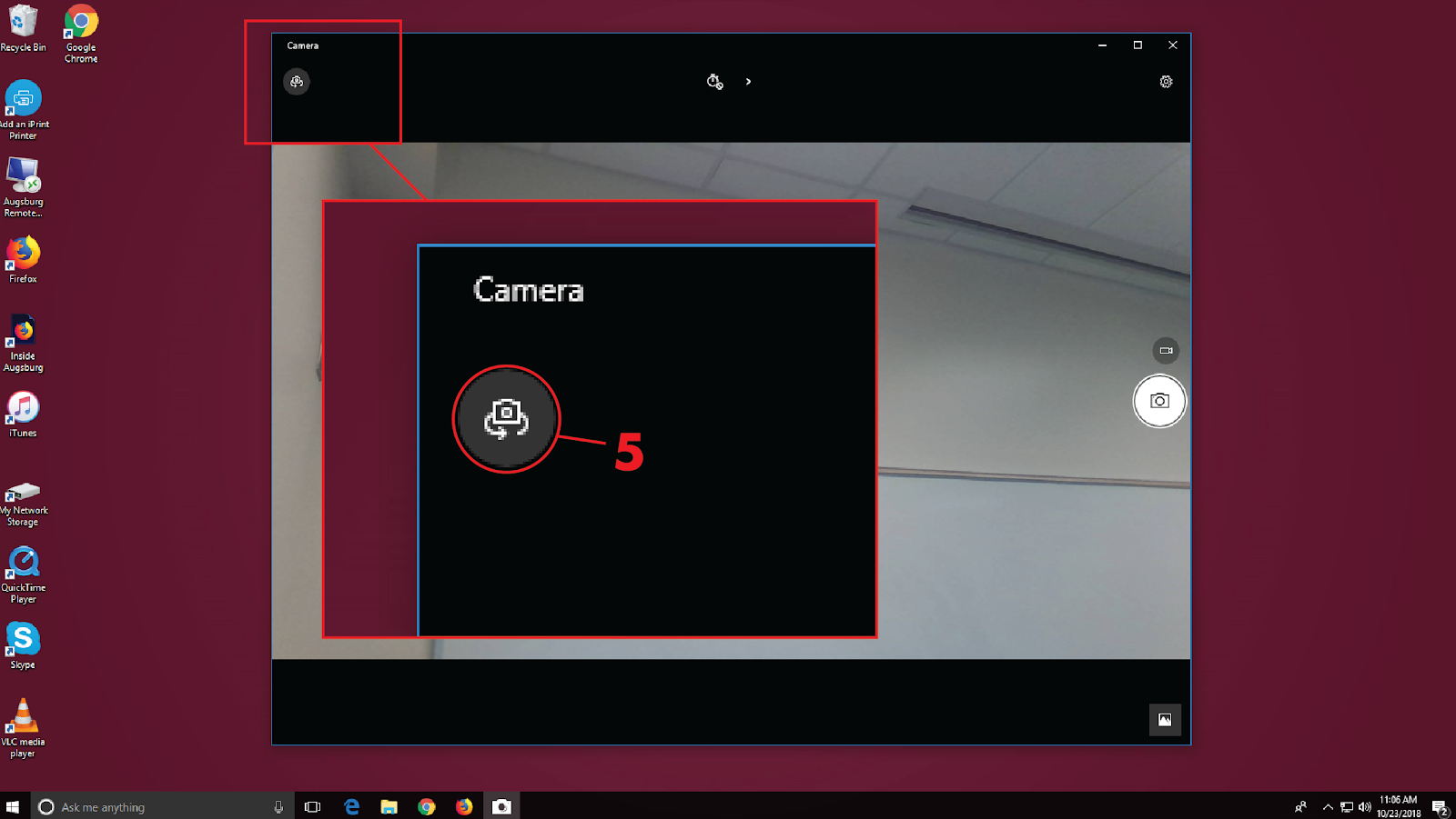 Switch from the forward facing camera to the document camera