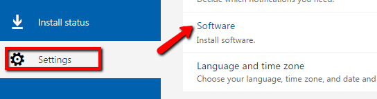 Settings pane with Software category containing Install software link