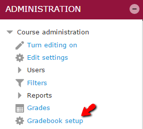 Gradebook Setup menu link under the Administration block from the main course pageItems