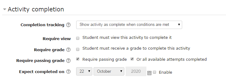 Quiz activity completion options are different than for files