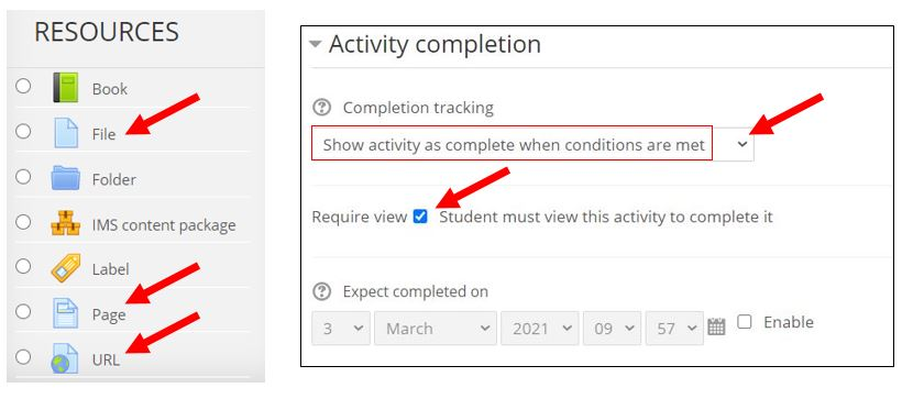 activity completion for files, pages, and URLs