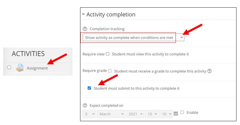 Set activity completion for assignments