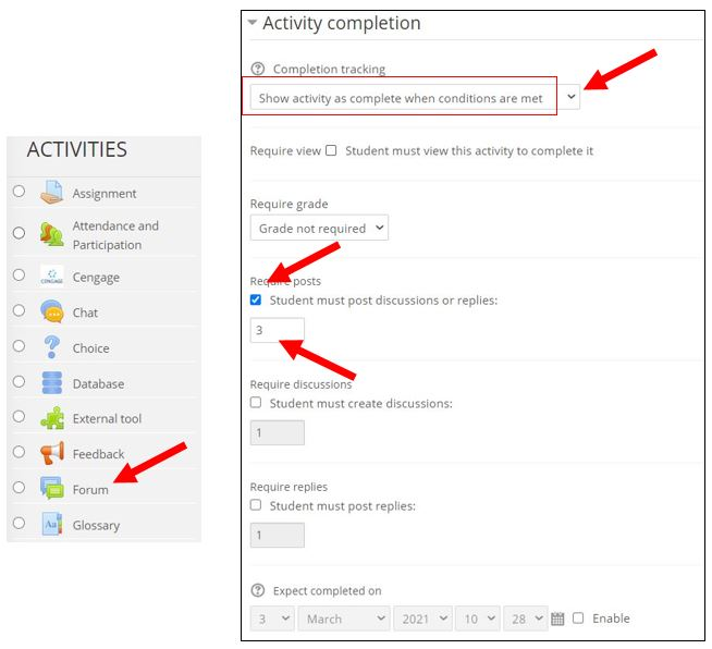 activity completion for forums