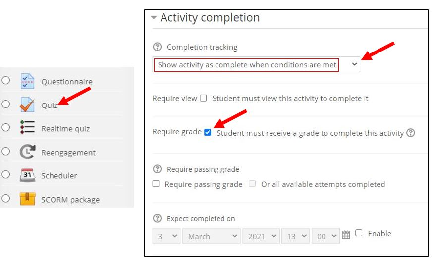 activity completion for quizzes