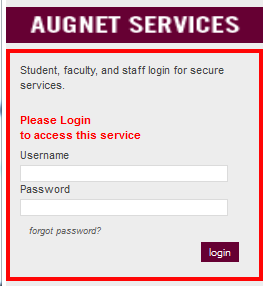 Inside Augsburg login window appears in a frame window