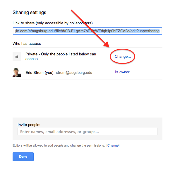 Change Sharing setting