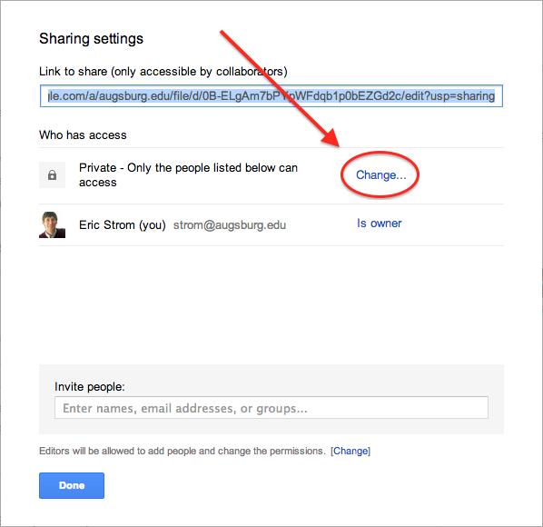 Change Sharing setting