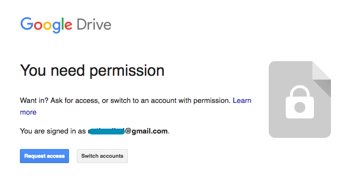 Google Drive permission window