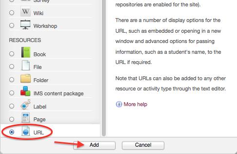 Add an activity or resource, URL