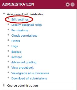 Settings block, Assignment administration, Edit settingst