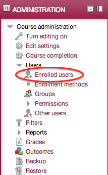 Administration block, Course administration, Users, Enrolled users