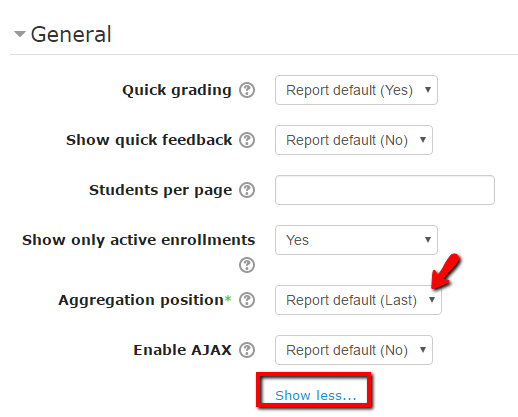 """Scroll down to the General section and click """"Show More"""" to view the Aggregation position > Change from Last to First."""