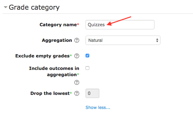 Grade category, Category name field