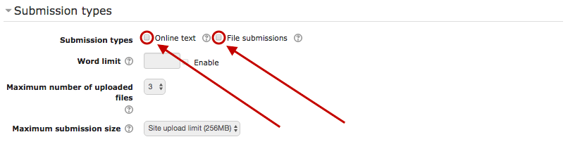 Offline assignment, submission settings