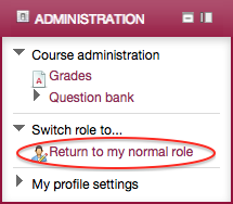 Settings block, Return to normal role