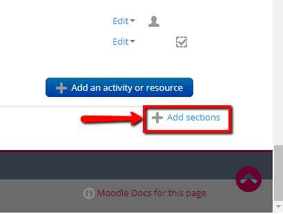 """""""Add sections"""" command on Moodle, editing mode on"""