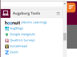 Augsburg Tools block showing links for Hoonuit (Atomic Learning), AugBlogs, Google Hangouts, Qualtrics Surveys, VoiceThread, and Zoom.