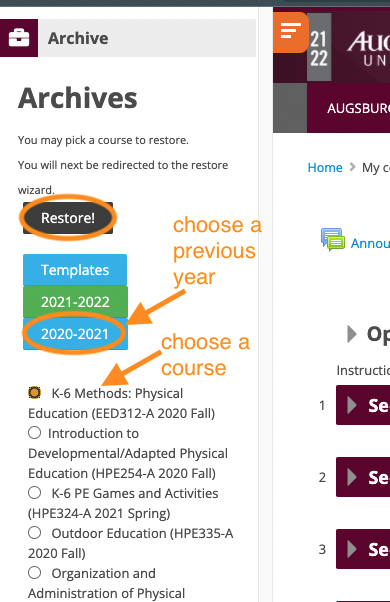 "Select your course and click ""Restore"""