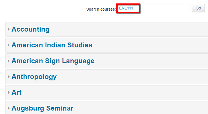 Dashboard search opens with course categories below