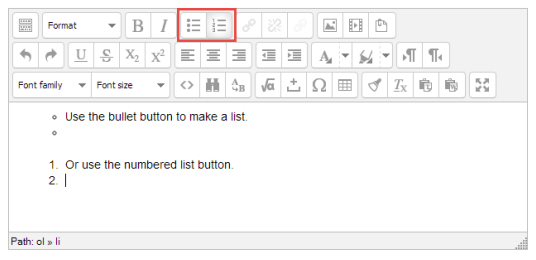 Use bulleted and numbered list buttons