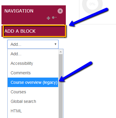 "Select ""Course overview (legacy)"" in Add a block."