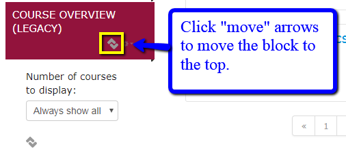 "Click ""move"" arrows to move block"
