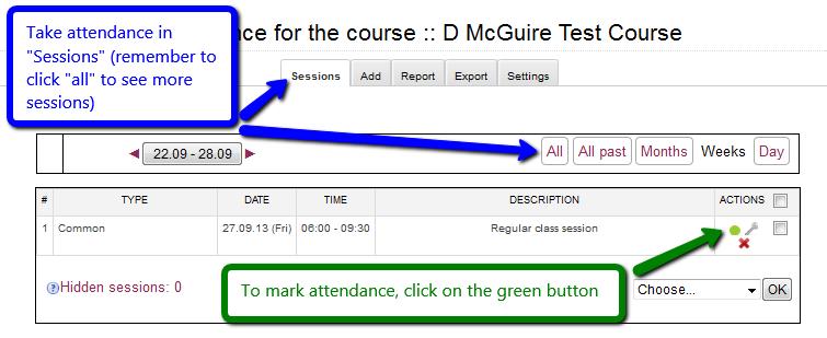 Marking attendance