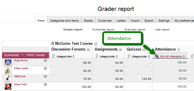 Attendance column in Gradebook