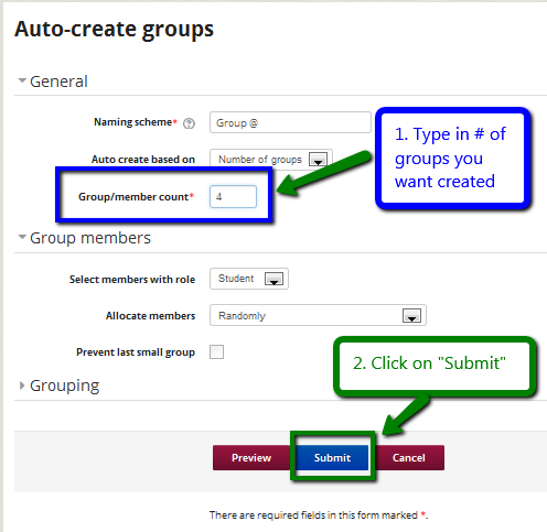 Indicate number of groups and submit