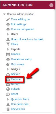 """Select """"Restore"""""""