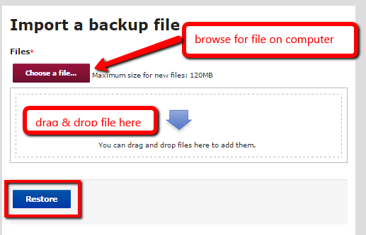 "Upload the file and click ""Restore"""