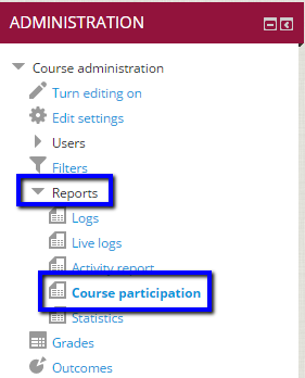 "Click on ""Reports"" and ""Course participation"""