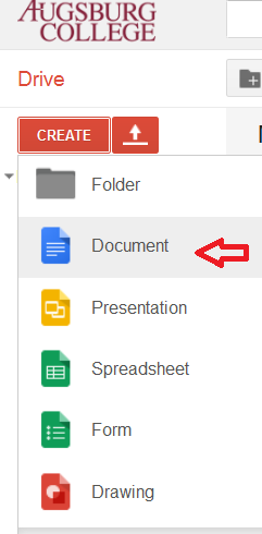 Google Doc Create button