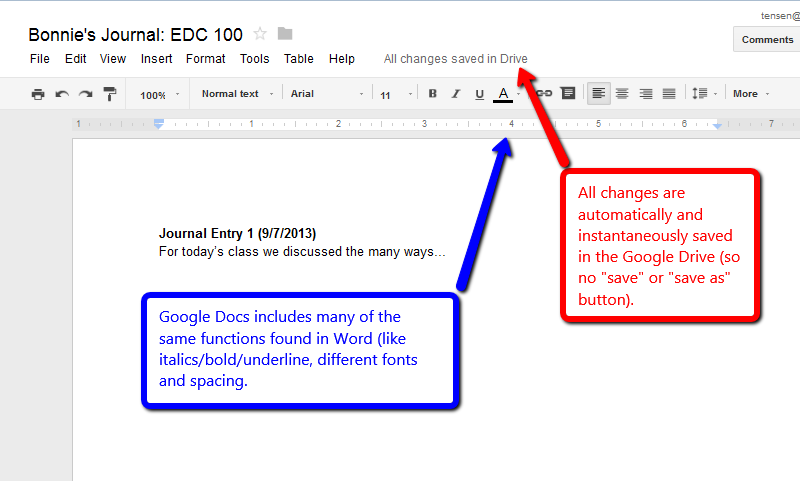Typing in and Saving a Google Doc