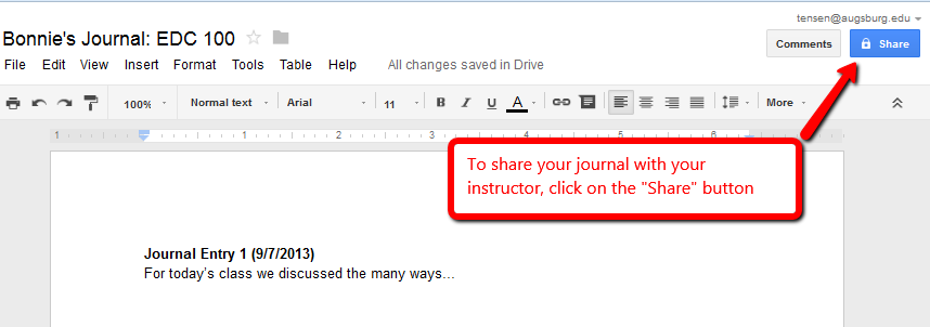 Sharing a Google Doc