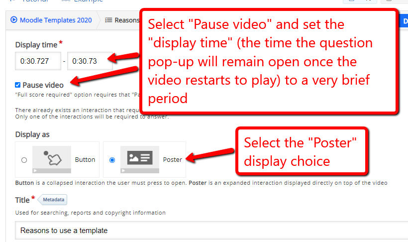 Check the pause checkbox change display time, and select poster display
