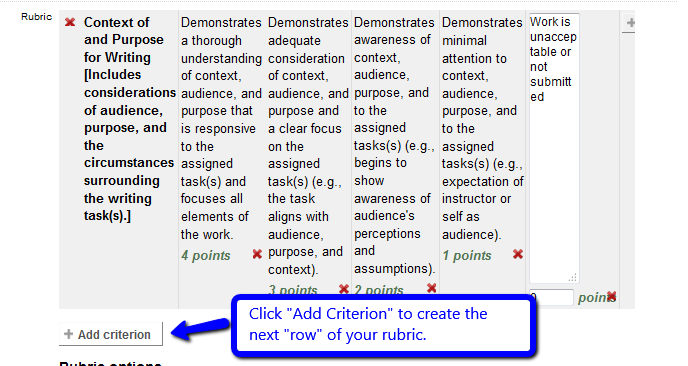 "Click ""Add criterion"" for next row of rubric"