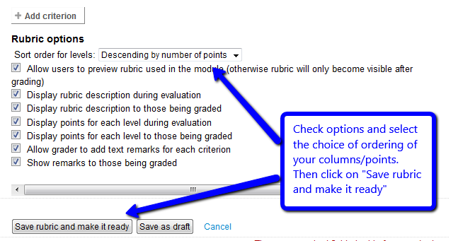 Select Rubric options and save