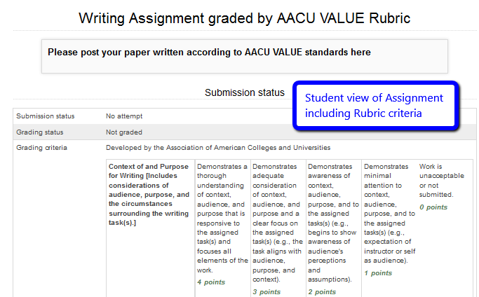 student view of rubric in Assignment