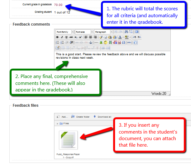 Rubric adds scores; Add final feedback and attach docs