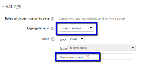 "Select ""Sum of ratings"" and set point total"