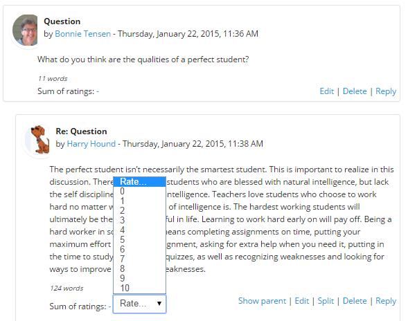"""Assess post using dropdown menu next to """"Ratings"""""""