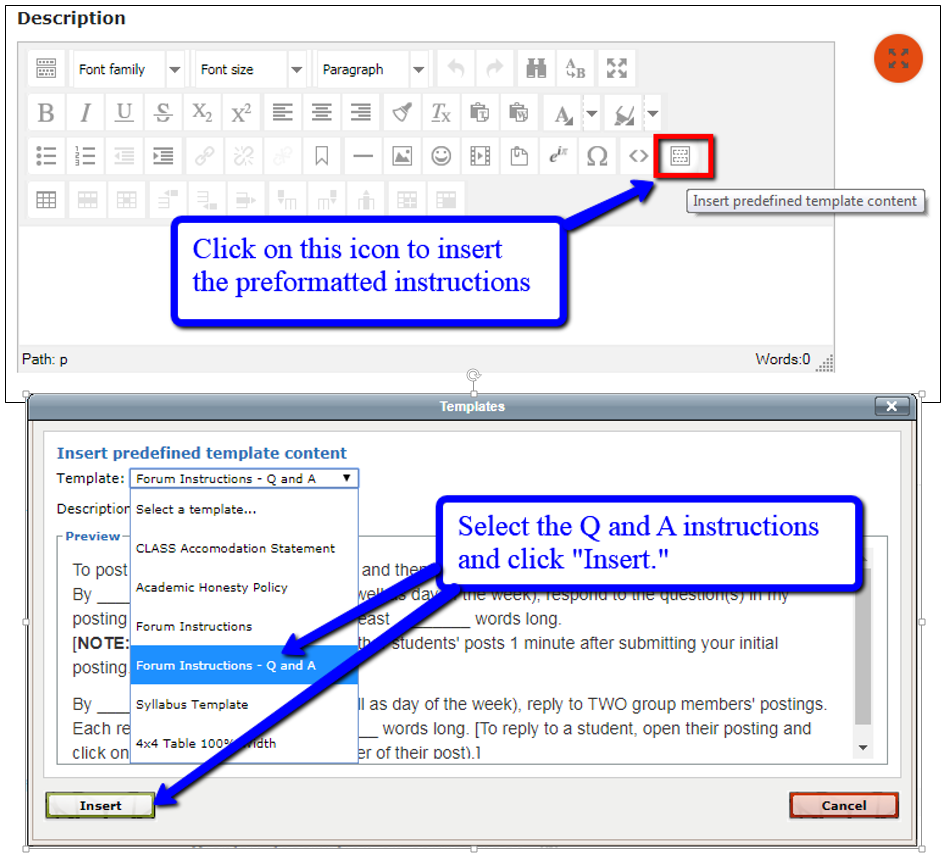 Use the predefined template instructions