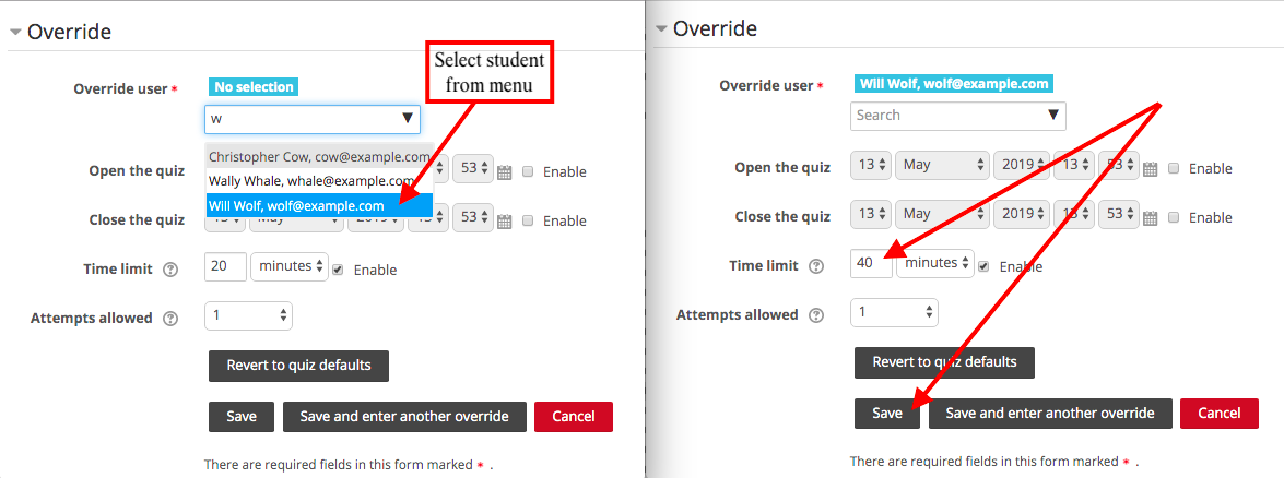 Select student and change time