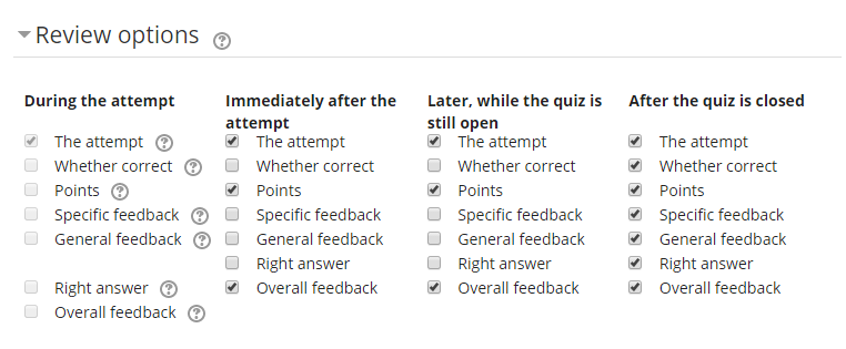 Default Review options for Quiz Feedback