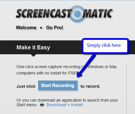 Browse to Screencast-O-Matic