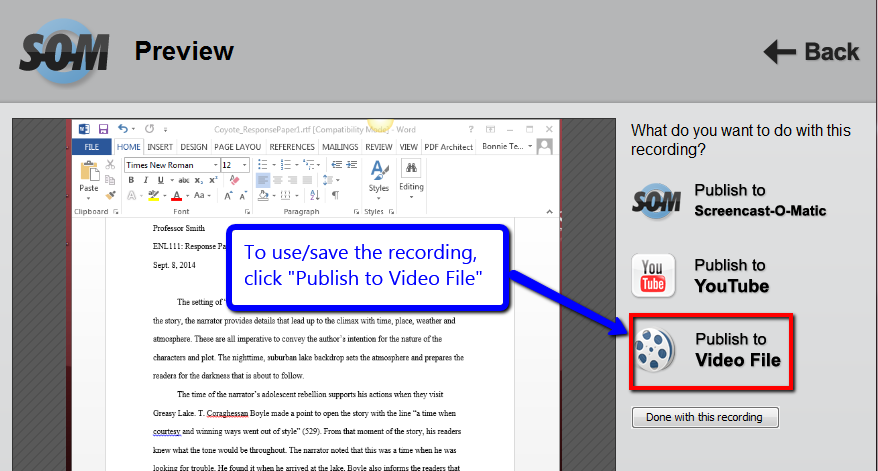 Publish to video file