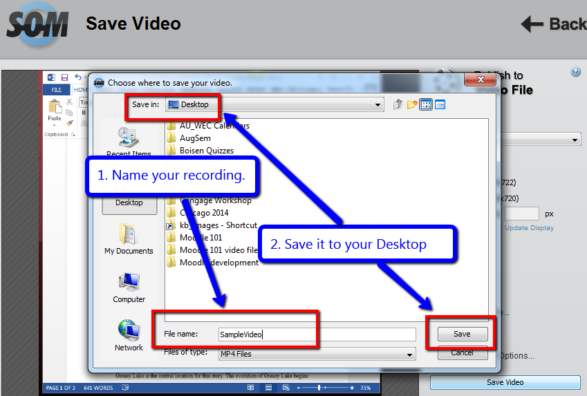 Name video and save to Desktop