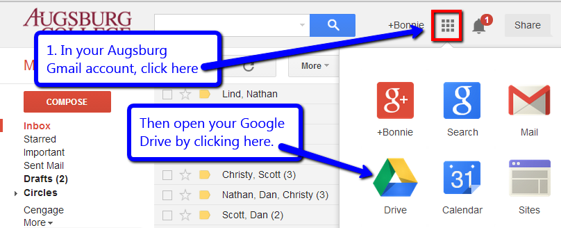 Open Gmail and Google drive